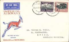 (South Africa) Johannesburg to Mpika, Northern Rhodesia, bs 6/2, carried on F/F Regular Service Cape Town/Croydon, Springbok cover, Imperial Airways. This flight was interrupted near Salisbury and did not arrive at Broken Hill until Feb 4th, see Baldwin p51.