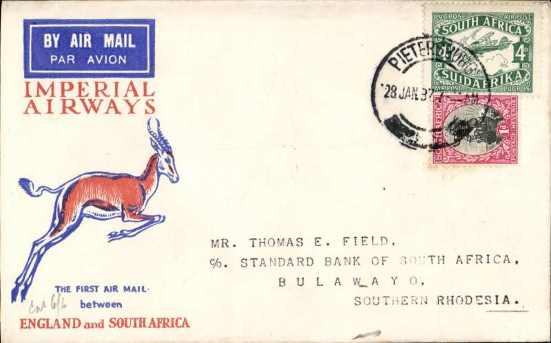 (South Africa) Pietersburg to Bulawayo, b/s 28.1, carried on F/F Regular Service Cape Town/Croydon,  Springbok cover franked 5d, Imperial Airways