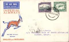 (South Africa) Interrupted flight Johannesburg to Kisumu, bs 8/2, via Nairobi 7/2, carried on F/F Cape Town-London, left Cape Town January 27 but forced down at Broken Hill, Northern Rhodesia, delayed 7 days,  Imperial Airways. corner damage on 2d stamp.