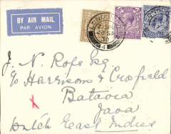 (GB External) First acceptance of British mail for KLM service to the Dutch East Indies, Weltevreden 4/10, franked 1/ 5 1/2d canc London cds.