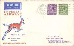 (GB External) Christmas proving flight, London to Johannesburg, bs 21/12,  Springbok cover, Imperial Airways.