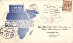 (GB External) Imperial Airways, first airmail England to Africa, London to Aswan, bs 6/3, official blue/white 'map' souvenir cover, franked 4d, canc London FS/Air Mail cds, violet circular Imperial Airways House London hs verso.