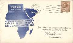 (GB External) Imperial Airways, London to Khartoum, bs 7/3, flown on F/F Croydon/Mwanza, official blue map cover, nice IAW House cachet verso, Imperial Airways.