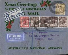 "(GB External) Kingsford Smith's return flight, England to Australia,"" All the Way"" Christmas and New Year flight, London to Perth, bs 25/1/32, registered (label) grey/red/green ""Xmas Greetings"" Australia National Airways souvenir cover, correctly rated 1/7d, canc oval Southampton 17 Dec 31 ds."