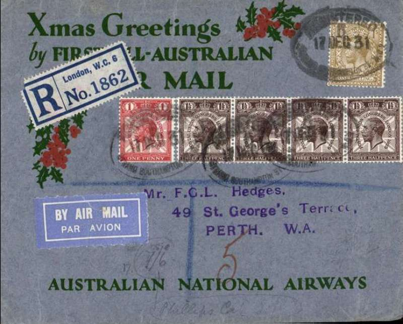 """(GB External) Kingsford Smith's return flight, England to Australia,"""" All the Way"""" Christmas and New Year flight, London to Perth, bs 25/1/32, registered (label) grey/red/green """"Xmas Greetings"""" Australia National Airways souvenir cover, correctly rated 1/7d, canc oval Southampton 17 Dec 31 ds."""
