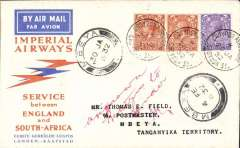 (GB External) Imperial Airways 1st flight London (Croydon Aerodrome) to Mbeya, bs 30/1, red/orange/white Speedbird souvenir cover franked 7d-, canc Croydon Aerodrome/London cds. One of only 24 flown from Croydon Aerodrome to Mbeya.