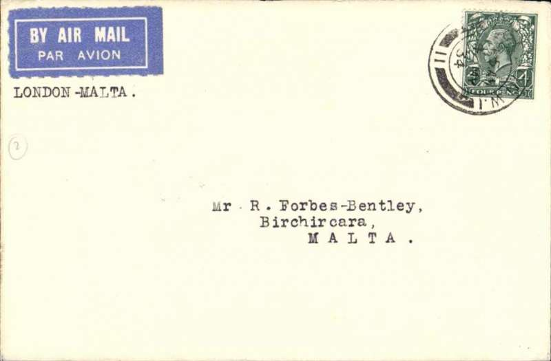 (GB External) Imperial Airways 1st acceptance for Malta, London to Valetta bs 5/5, cover franked 2 1/2d, canc London W1, typed 'London-Malta', airmail etiquette. Francis Field authentication hs verso.