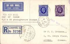 (GB External) KGV photogravure 2 1/2d FDI and KGV 3d (Cat £95 on one cover, Bradbury 2008) canc Liverpool cds on registered (label) airmail cover, London to Greece,  Athens 21 III 35 arrival cds's, typed 'Via Air Mail/Day of Issue/2 1/2d & 3d photogravure stamps