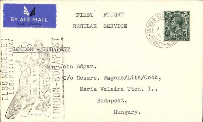 (GB External) F/F London to Budapest, rated 4d, b/s 2/4, (held up by bad weather), large special black cachet applied on arrival), Imperial Airways.