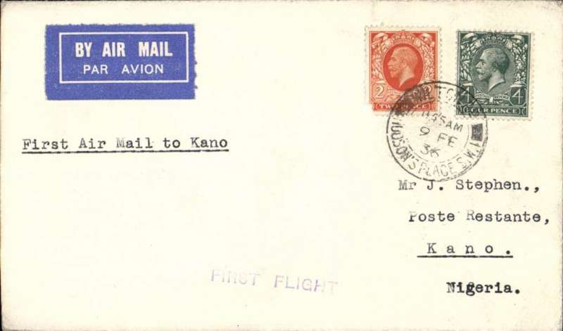 (GB External) F/F New Khartoum to Kano sevice, London to Kano, franked 6d, b/s 16/2, typed 'First Airmail to Kano', violet 'First Flight' hs, Imperial Airways.