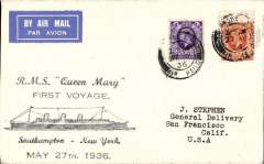 (GB External) London to San Francisco, bs 6/6, carried on the first voyage of the RMS 'Queen Mary' from Southampton to New York, then US internal air service to San Francisco, souvenir cover franked 5d, attrective yellow/blue 'First Trip'/SS Queen  Mary' verso.
