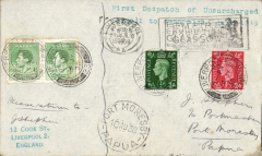 "(GB External) F/F Third Stage EAMS England to Papua, NG, Port Moresby 10/8 arrival cds's front and verso, via Townsville, Australia 5/8, typed endorsement ""First despatch of/unsurcharged Australian/airmail July 24th 1938"", franked 1 1/2d, Imperial Airways, large black 'Empire Air Mail Scheme' cachet verso. Also bears 2x1d Papua stamps for the return."
