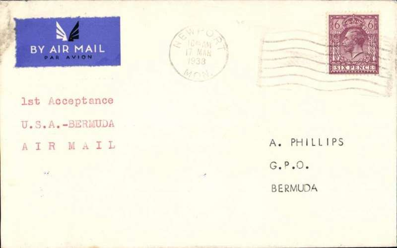 """(GB External) First official acceptance of mail from Great Britain for carriage on the USA-Bermuda service, no arrival ds, airmail etiquette cover correctly rated 6d, canc Newport cds, typed """"1st Acceptance/USA-Bermuda/Airmail"""". Uncmmon."""