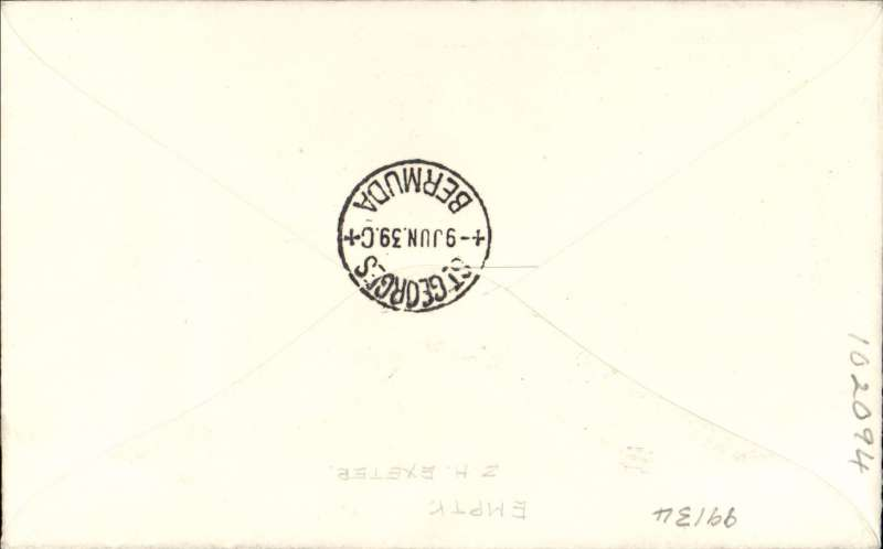 (GB External) Rare acceptance from Great Britain for Bermuda, bs St Georges 9 Jun 39, for carriage over the Pan Am Southern Route, airmail etiquette cover under franked with KGVI 5d strip of 3 canc Hackney cds,  black 'T' in hexagon  and '1s/-' tax due hand stamps on front,  typed  'North Atlantic Air Service'. Only a few covers were prepared addressed to Bermuda, see Clark W.J.,#32.1.