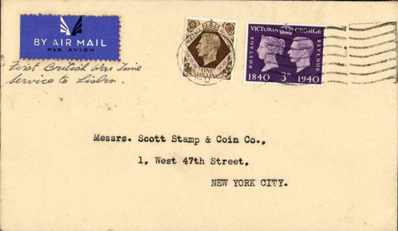 (World War II) World War II, London to New York, no arrival ds, carried on BOAC first regular service Heston to Lisbon, cover embossed 'Stanley Gibbons/London' on flap, franked 1/3d, typed 'First British War Time/Service to Lisbon', airmail etiquette.