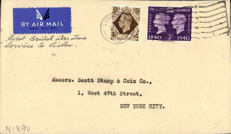 (GB External) World War II, London to New York, no arrival ds, carried on BOAC first regular service Heston to Lisbon, cover embossed 'Stanley Gibbons/London' on flap, franked 1/3d, typed 'First British War Time/Service to Lisbon', airmail etiquette.