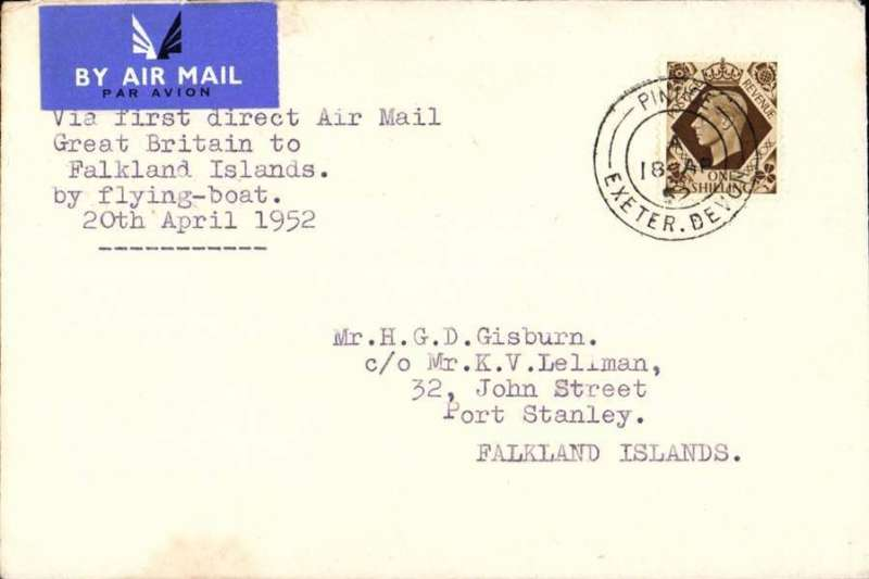 (GB External) First direct airmail from GB to Falkland Islands by flying boat. Plain etiquette cover franked 1/-, bs 28/4.