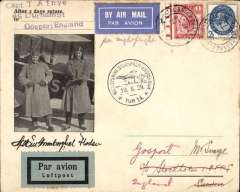 (GB External) London to Stockholm, carried on the F/F ABA Amsterdam-Stockholm night flight, scarce souvenir cover with B&W photo of pilots standing alongside their plane, franked GB 2 1/2d & 1d UPU canc special Postal Union Congress dr cds, also black circular official flight cachet and grey blue/black airmail etiquete.