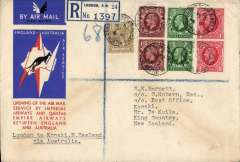 (GB External) Imperial Airways/ITCA/Qantas, London to New Zealand, 28/12, via Darwin 19/12 and Sydney 21/12, registered (label) red/white/blue 'kangaroo' souvenir cover flown on F/F extension of London-Singapore service to Australia, franked 1/6d, canc Wilton Road cds.