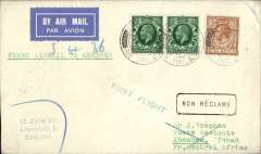 (French Chad) Imperial Airways/Air Afrique, first acceptance for Abesher (Chad), bs 26/2, via Fort Lamy 16/2, carried on the inaugural London-Nigeria airmail service, etiquette cover, correctly rated 6d, green 'First Flight' cachet, typed 'First Airmail to Abesher', Imperial Airways. Scarce. Letters to Abesher were dropped at Fort Lamy until April 10, when they were first dropped at Abesher, see Baldwin #438, p75.