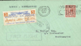 "(GB Internal) Provincial Airways Ltd, inauguration of the third GB Internal Airmail Service, "" West Country Air Service"", London to Southampton, 3d orange bi-coloured vignette tied by Southampton 25 Nov 1933 machine cancel applied on arrival, framed ""First Flight"" cachet, plain cover. The service operated for six days only. Francis Field authentication hs verso."