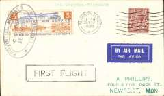 """(GB Internal) Provincial Airways Ltd, inauguration of the third GB Internal Airmail Service, """" West Country Air Service"""", London to Plymouth, 3d orange bi-coloured vignette tied by Southampton 25 Nov 1933 machine cancel applied on arrival, framed """"First Flight"""" cachet, plain cover. The service operated for six days only. Francis Field authentication hs verso."""