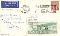 (GB Internal) F/F Great Western Railway daily air service, Plymouth to Cardiff, franked GWR 3d Air Stamp tied Plymouth GWR canc, Cardiff arrival cds.