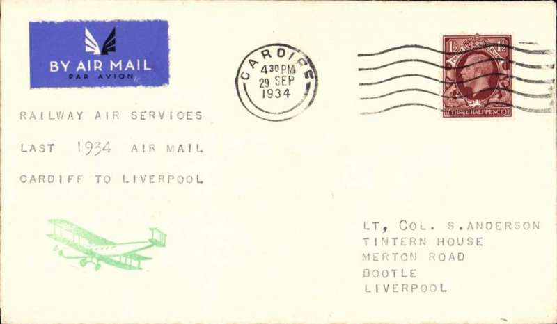 "(GB Internal) Railway Air Service, last flight of the Cardiff-Liverpool service, plain cover franked 1 1/2d photogravure stamp canc Cardiff cds, typed ""Railway Air Service/Last 1934 Air Mail/Cardiff to Liverpool"". The only remaining RAS mail carrying service after this date, and before the introduction of the new service on 1 October, was Glasgow to London via Belfast, Manchester and Birmingham."