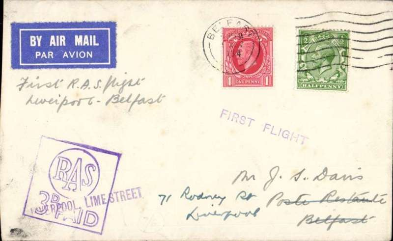 (GB Internal) Railway Air Service, new timetable, Liverpool replaces Manchester and Birmingham, first direct flight Liverpool to Belfast, airmail etiquette cover posted on arrival, franked 1 1/2d canc Belfast/1 Nov/34 cds, also fine boxed purple 'Railway Air Service 3d paid' and 'Liverpool, Lime St' and 'First Flight' cachets applied in Liverpool. This was the first time that Liverpool was put into regular aerial communication with Scotland and Ireland.
