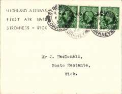 """(GB Internal) Highland Airways, first acceptance from Stromness for carriage on F/F Kirkwall to Wick, bs 3pm Dec 1, plain cover franked 1 1/2d, typed """"Highland Airways/First Air Mail/Stromness-Wick"""".  An uncommon origin. Highland Airways was the first company to receive a contract from the Post Office for the regular conveyance of first class mail by air, no extra fee being charge for letters below 2 oz in weight. This was an extremely important event in the development of the GB Internal airmail system."""