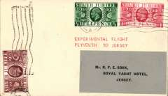 (GB Internal) Rare Whoopee Sports Ltd, Experimental Flight Plymouth to Jersey, plain cover franked GB Silver Jubilee 1/2d, 1d, and 1 1/2d, flown from Plymouth at 5am on 28/6 to Jersey where, on arrival  it was re-posted to a Jersey address (The Royal Yacht Hotel, Jersey) and cancelled with a 'Jersey/4.15pm/28 Jun 1935'  machine postmark. A true gem in fine condition. For a detailed description of this cover, see Redgrove p99.