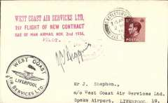 (GB Internal) West Coast Air Services, second contract, Castletown to Liverpool, plain cover franked 1 1/2d, two types of cachet applied - one a red three line cachet on the front, and the other a circular  'West Coast Air Services/Liverpool 'cachet  - black on the front and  red 'West Coast Air Services/Isle of Man' verso. Signed by the pilot JC Higgins.