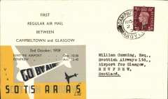 (GB Internal) Scottish Airways F/F Campbelltown to Glasgow, bs Renfrew 2/10 2.45pm, company cover with Scottish Airways logo on flap, franked 1 1/2d canc Campbeltown 11.15am. Only 44 flown, and one of a few dispatched by the company with special black/yellow/grey adhesive label overprinted with the flight times. Also a c75 word account of the flight, typed on card;  B&W head and shoulder pictures (not photos), 8x5cm, of four pilots and four Board members of Scottish Airways; and a 2pp article by H Stanley Redgrove on British Internal Airmails in Wartime, from The est End Philatelist, May 1940.