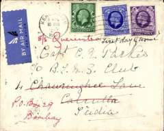 (GB External) London to Calcutta, bs 23/3, airmail etiquette 'The Kensington Club' cover franked FDI KGV 2 1/2d and 3d photogravure stamps with additional 1/2d.