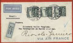 (Czechoslovakia) Air France South Atlantic service, Czechoslovakia to Brazil, Jindrich ur Hradec to Rio de Janero, bs 29/12, orange/grey Air France envelope franked 5k x3, pale bluie/black airmail etiquette.