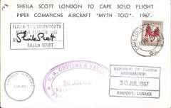 "(South Africa) Sheila Scott  return solo round flight Cape Town to London1/8 London Airport arrival ds on front, souvenir card franked South Africa 1c, Lusaka and Nairobi customs clearance hand stamps, black framed cached ""Flown on London/South/Africa Flights 1967"" and signed by Sheila Scott."