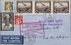 """(Belgium) Brussels to Broken Hill, bs 16/11, scarce Belgium acceptance for F/F Air France/Air Afrique/Regie Malgache Paris-Leopoldville extension to Elisabethville and Madagascar, Van Reet airmail etiquette cover franked  4F05, canc Bruxelles 7/11 cds, red boxed """"!ier Service Aerien/Francais Regulier/Europe-Congo-Madagascar"""" flight cachet. One of only c50 covers to catch the first flight. Due to an error in the official announcement most Belgian acceptances went by the second (ie the first Sabena) flight which left Brussels on 15/11/35. Repaired closed tear verso, hardly visible, see scan, Francis Field authentcation hs verso."""