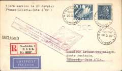 """(France) Rare first acceptance of mail from Sweden for the Gold Coast for carriage on the Air France/ Aeromaritime F/F France-Gold Coast, Paris to Takoradi, bs 3/3, registered (label) cover franked 130 ore canc Stockholm Luftpost cds, red diamond """"Air France/Aeromaritime"""" cachet , typed """"1 iere service le 28 Fevrier/France-Liberia-Cote d'Or"""". Nice item in fine condition."""