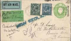 "(GB External) England to Argentina, bs Buenos Aires10/2, via Toulouse 14/1,  Smye 1/2d PSE with additional 4d and 10d, canc Gosport 5/1/27 cds, pale green/black P25 airmail etiquette, ms ""per 1st Air Mail/London-S. America"" on green label, and ""Paquebot Croile/via La Pallice"", black '2'2 in circle BA postal mark verso. No record of a 1st flight on this date, but was it part flown?. La Pallice was a French port used by the Pacific Steam Navigation Company on its Liverpool - La Pallice - Corunna - Vigo - Lisbon - Recife - Salvador - Rio de Janeiro - Montevideo - Buenos Aires service. Interesting."