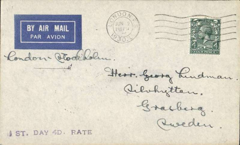 "(GB External) First combined surface and air postage at 4d London FS to Stockholm, bs 3/6, imprint etiquette cover franked 4d, black st. line ""1st Day 4d Rate"" hs, Francis Field authentication hs verso."