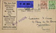 (GB External) First acceptance of British mail for the inaugural London-Lyons-Marseilles direct service, Aero Field envelope franked 5 1/2d canc London W.C. tying dark blue/black airmail etiquette, Marseilles 15/7/1926 arrival cds on back, violet St Line 'Par Avion' hs.