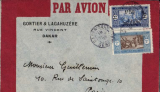 (Senegal) Aeropostale, Dakar to Paris, Gontier & Lagahuzere red/grey envelope franked 3F, company seal verso.