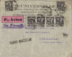 (Tunisia) Tunis to Calcutta, printed commercial cover franked 250c, via Marseilles28/3, uncmmon pink/black airmail etiquette, black straigh line 'Tunis-Marseille' Jusqu'a.