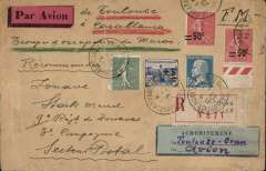 "(Tunisia) Aeropostale, Strasbourg to Casablanca, via Marseilles 28/6, cover to member of occupation troops in Morocco, registered (label) cover 'FM'+ registrationn fee 1F50 +air mail surcharge1F50, nice copy of blue/black directional label ""Acheminement/Via (ms) 'Toulouse-Oran'/Par (ms) Avion."