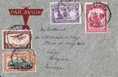 (Belgian Congo) Imperial Airways connection, Rutshuru to Liege, Belgium, via Kampala 26/3 transit cds, imprint airmail cover franked 5F, carried by road to Kampala, then IAW South Africa-Engand service.