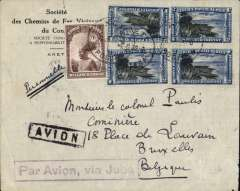 "(Belgian Congo ) The Imperial Airways connection, Aketi to Brussels, via Aba 9/9/transit cds, commercial corner cover, franked 9.5F, violet framed ""Par Avion, Via Juba"" hs', carried by road to Juba, then Imperial AW northbound Africa service  to London. Damage verso, see scan, but an interesting cover nonetheless."
