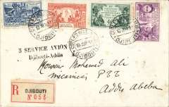 "(French Somali Coast) Fifth air service, Djibouti to Addis Abeba, Ethiopia, bs 20/6, registered (label) cover franked 3.30F, nice strike black two line ""% Service Avion/Djibouti-Addis, Mu  #5."