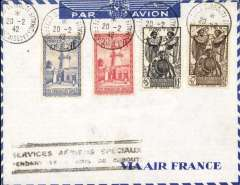 "(French Somali Coast) World War II Emergency Blockade Runner mail flight, Djibouti to Marseille, bs Marignane Airport (Marseille), blue/grey'Via  Air France' envelope franked 100c, black framed two lline ""Services Aeriens Speciaux/Pendant de Reacus de Djubouti""."