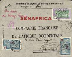 (Togo ) Trans Sahara airmail, Lome, Togo to Marseille, bs 16/4, Compagnie Francais de l'Afrique Occidental envelope franked 12F, large red printed 'Senafrica' on front,  ms 'Par Avion/via Niamey-Marseille'. Flown Compagnie Generale Transsaharienne Cotonau to Niamey, then Air Afrique to Algiers, the Algiers to Marseille. Great routing. Mail from Togo is not easy to come by.