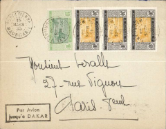 "(French Mauritania) Port Etienne to Paris, bs 26/4, plain cover franked 30c x3 and 10c, fine strike black boxed jusqu'a ""Por Avion/jusqu'a DAKAR. Flown to Dakar, then by sea to France."